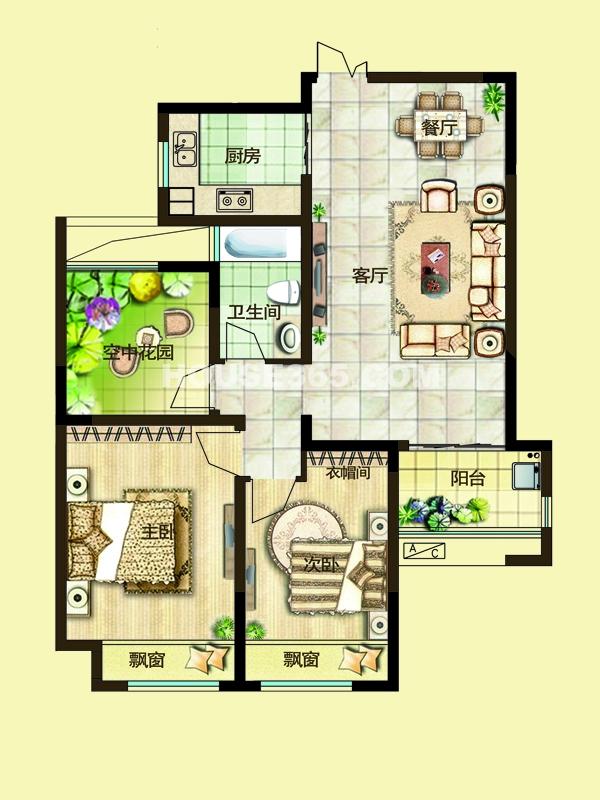 二期2C户型两房两厅一卫+空中花园 94-97平米