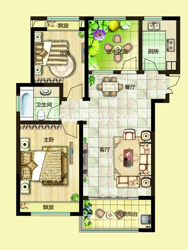二期2E户型两房两厅一卫+空中花园 94-97平米