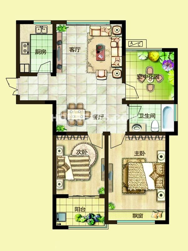 二期2D户型两房两厅一卫+空中花园 94-97平米