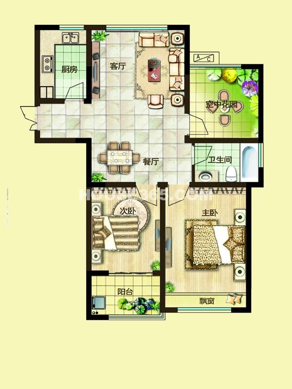 三期10#楼2D户型-两房两厅一卫+空中花园94