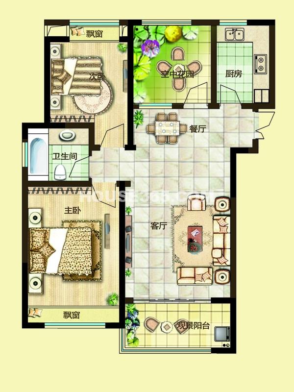 三期10#楼2E户型-两房两厅一卫+空中花园96