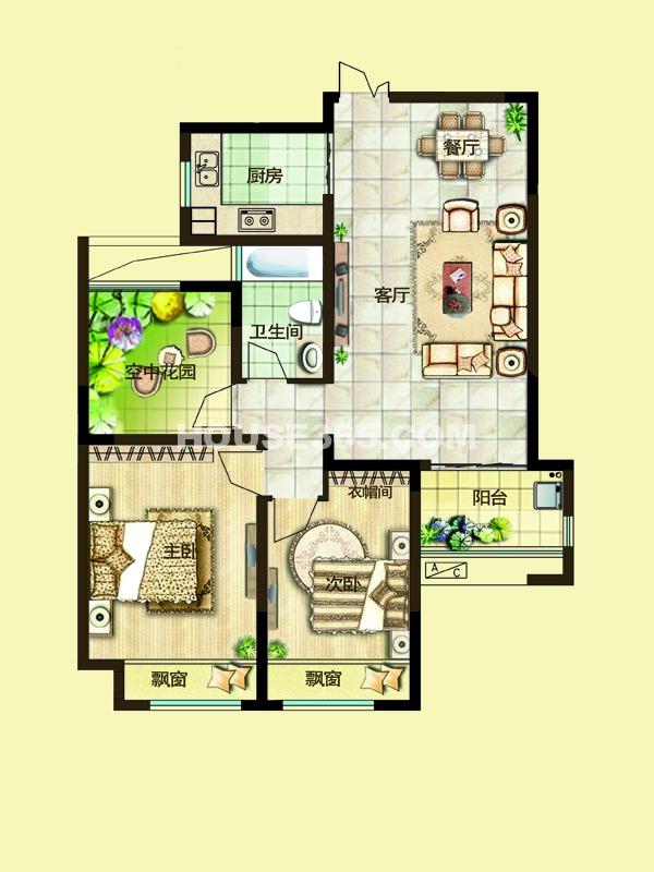 三期10#楼2C户型-两房两厅一卫+空中花园