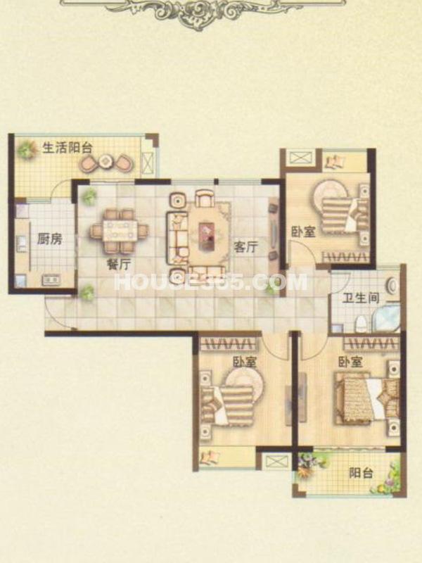 三期2#楼3B户型-三房两厅一卫