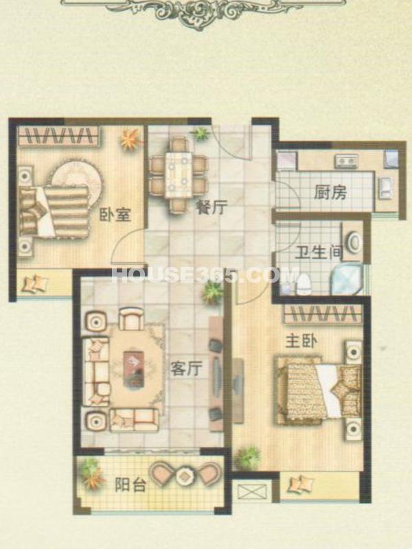 三期2#楼2A户型-两房两厅一卫