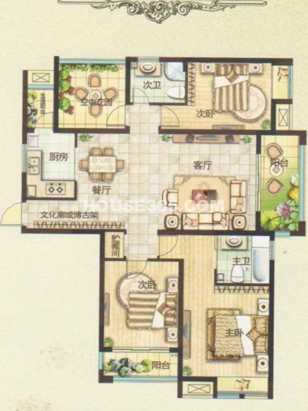 三期2#楼3A户型-三房两厅两卫+空中花园