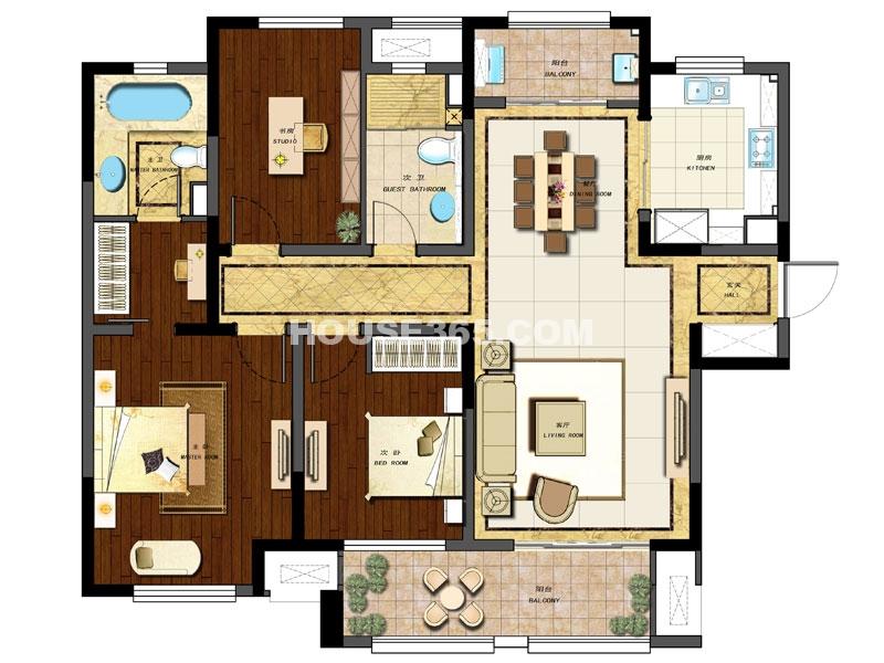 E户型 三房两厅两卫