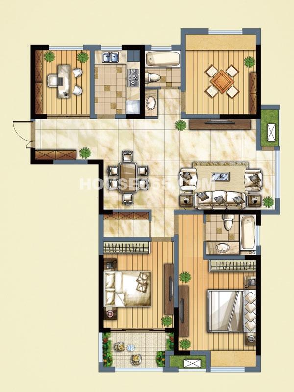 J(C)户型-四室二厅二卫-面积约132.74㎡