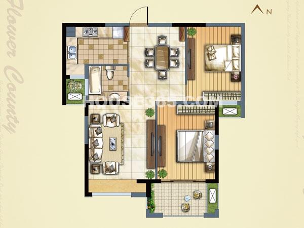 B(E)户型-二室二厅一卫-面积约89.29㎡