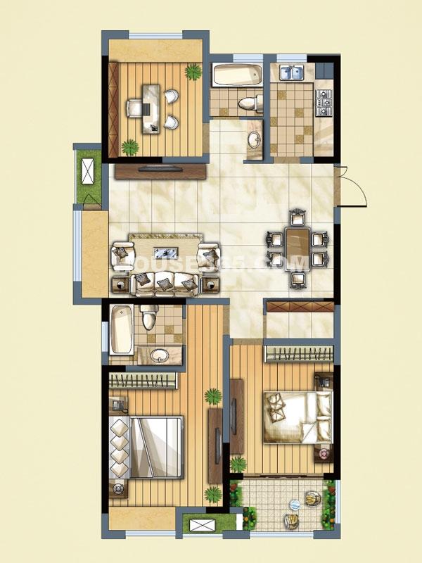 D(A)户型-三室二厅二卫-面积约116.33㎡