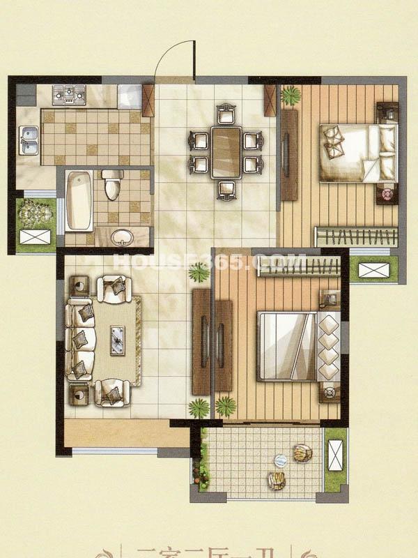23#楼户型两室两厅