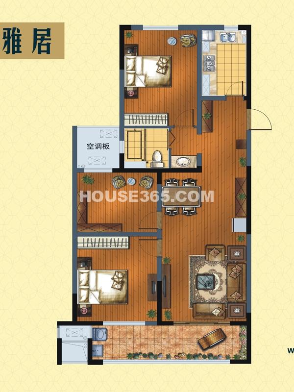 精装成品C户型雅居-三室两厅一卫