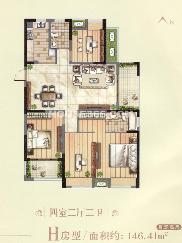 景观高层H户型-四室两厅两卫