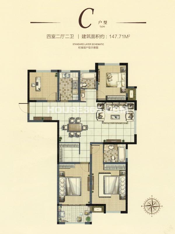 18#楼C户型四室两厅两卫