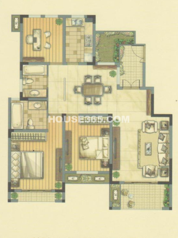 B户型24#楼-三室两厅两卫+赠送入户花园