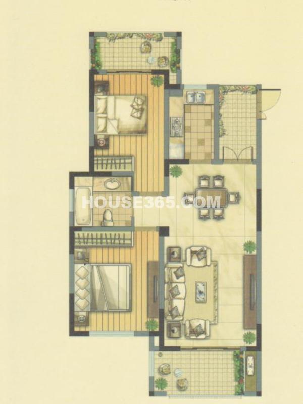 E户型27#楼-两室两厅一卫+赠送入户花园