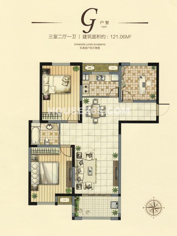 18#楼g户型三室两厅一卫