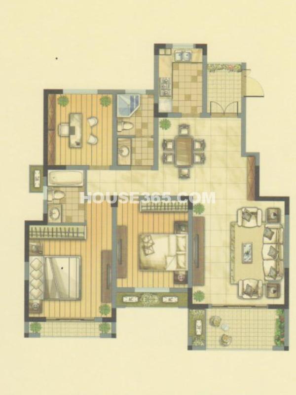 A户型24#楼-三室两厅两卫+赠送入户花园