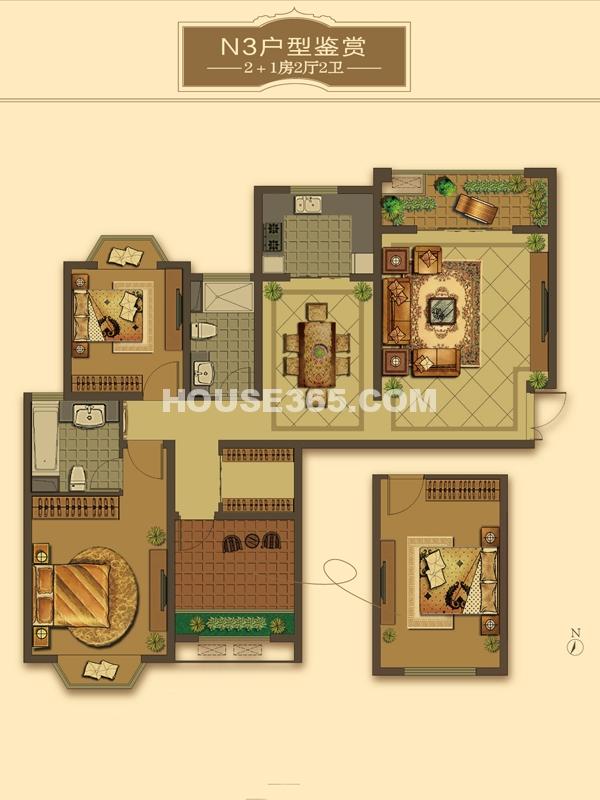 N3户型-2+1房2厅2卫(适用楼栋60#)