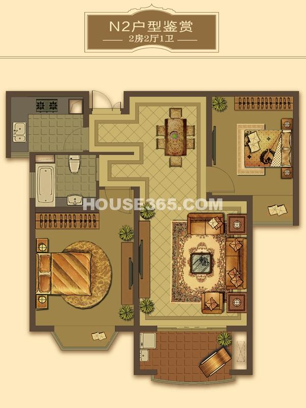N2户型-2房2厅1卫(适用楼栋57#、59#、60#)