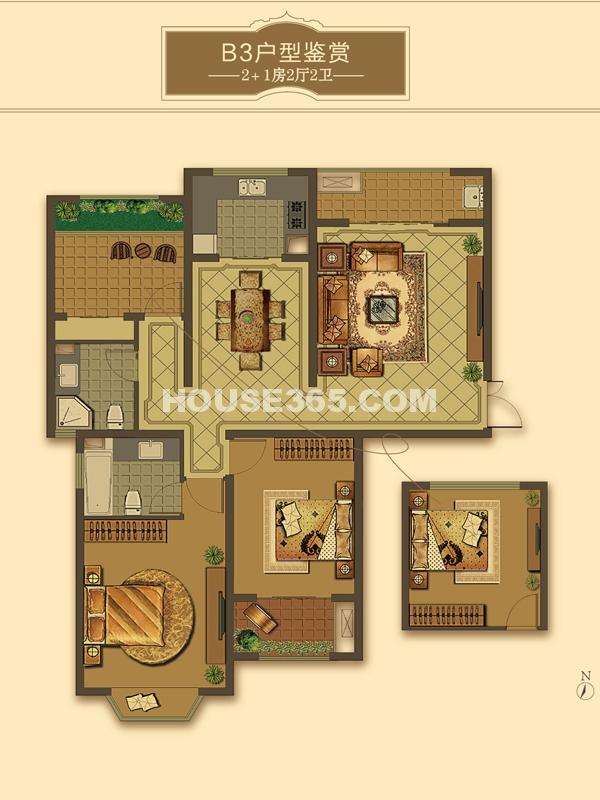 B3户型-2+1房2厅2卫(适用楼栋43#、58#)