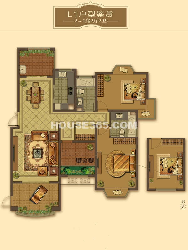 L1户型-2+1房2厅2卫(适用楼栋40#、41#、42#、56#)135-142㎡
