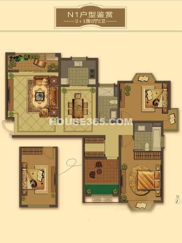 N1户型-2+1房2厅2卫(适用楼栋57#、59#、60#)123-128㎡