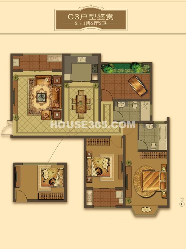 C3户型-2+1房2厅2卫(适用楼栋40#、41#、42#)