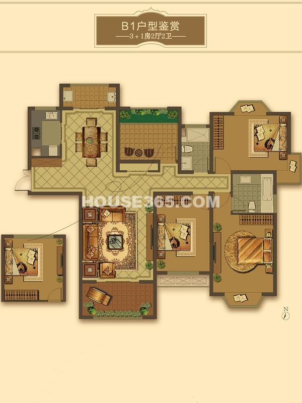 B1户型-3+1房2厅2卫(适用楼栋43#、58#)