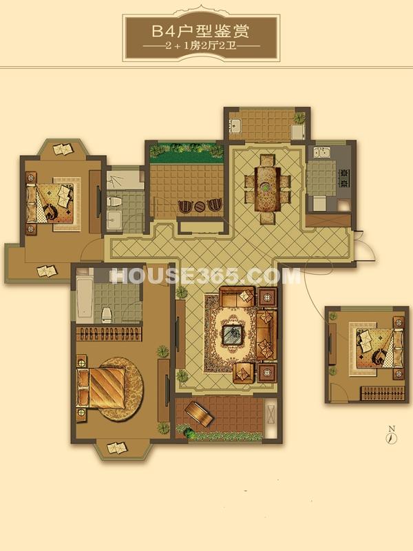 B4户型-2+1房2厅2卫(适用楼栋43#、58#)