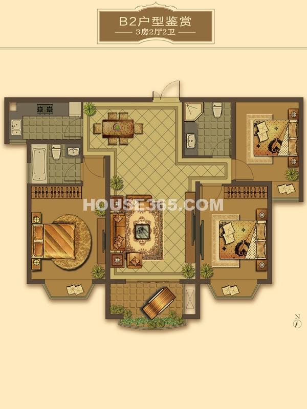 B2户型-3房2厅2卫(适用楼栋40-43#、58#)