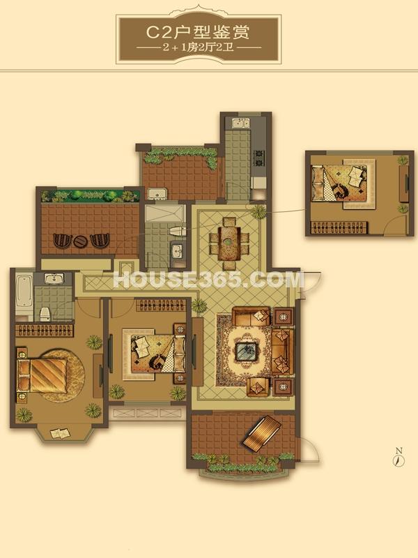C2户型-2+1房2厅2卫(适用楼栋40#、41#、42#)136-138㎡