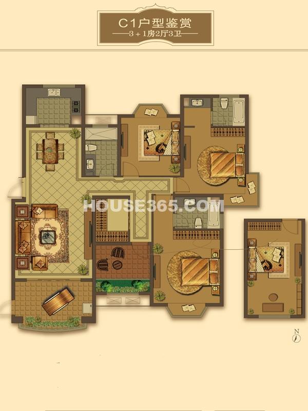 C1户型-3+1房2厅3卫(适用楼栋41#、42#)