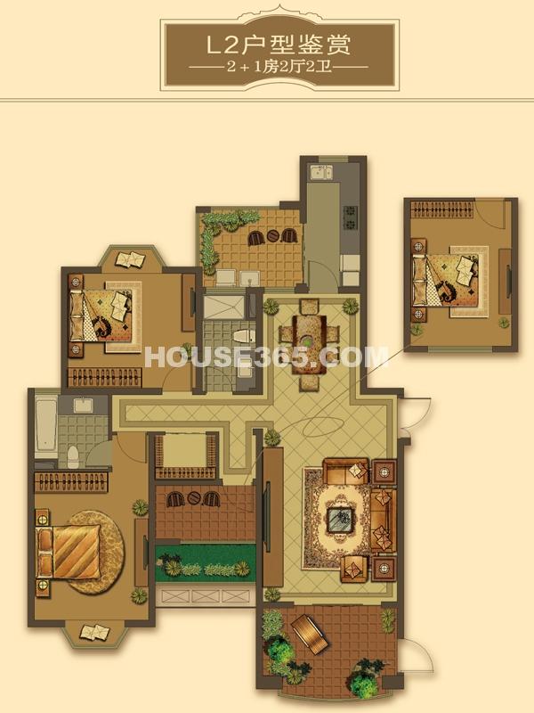 L2户型-2+1房2厅2卫(适用楼栋56#)