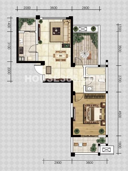 D户型-一室两厅一厨一卫