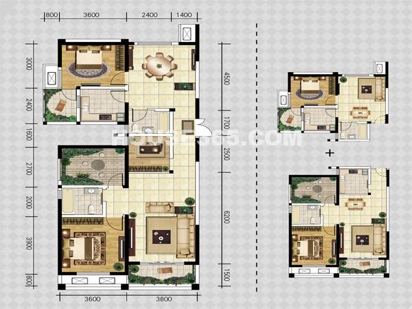 C户型-三室两厅一厨两卫