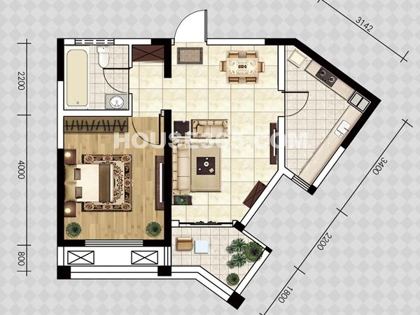E户型-一室两厅一厨一卫