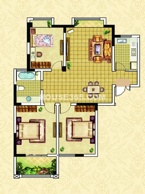 E4户型-三室两厅一卫一阳台