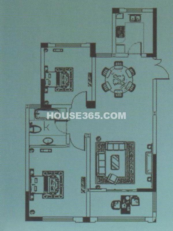 D4#户型-两房两厅一卫一阳台