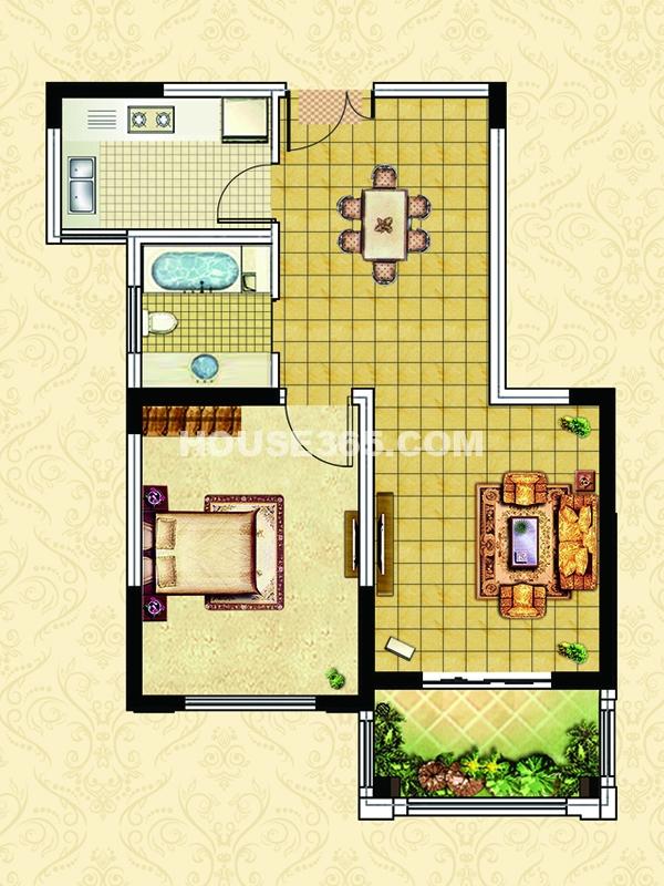 E2户型-一室两厅一卫一阳台