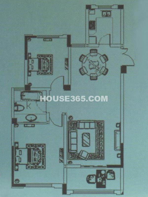 D3#户型-两房两厅一卫一阳台