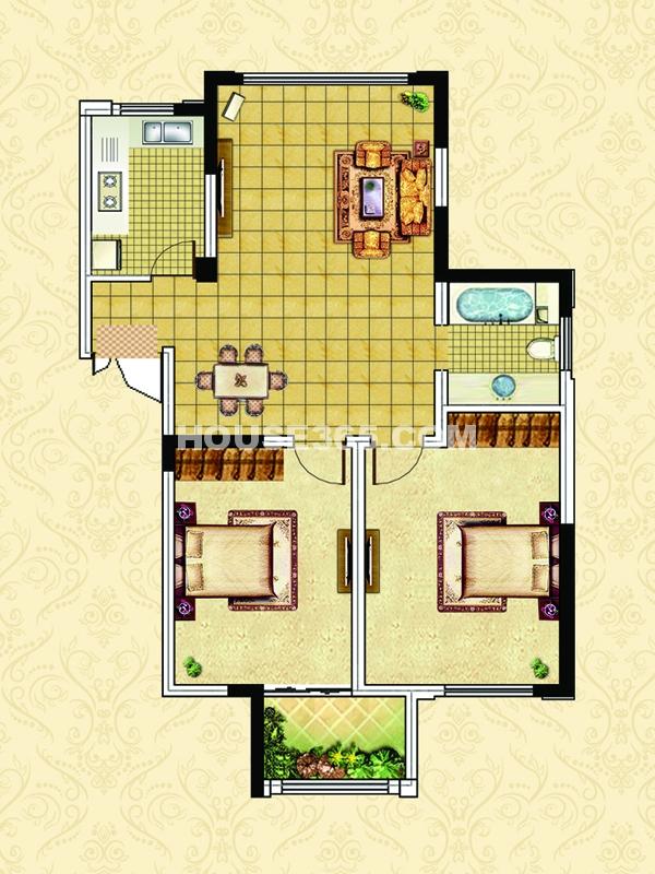 E1户型-两室两厅一卫一阳台