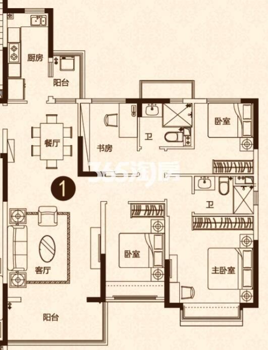 141㎡四室两厅户型