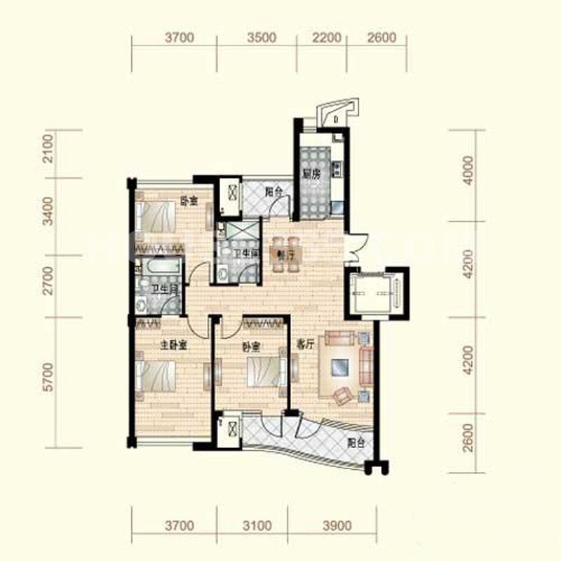 户型图b 132.81平方米