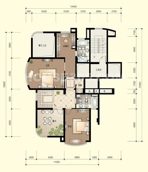 锦兰公寓283方跃层户型_杭州绿城西子锦兰公寓_杭州网