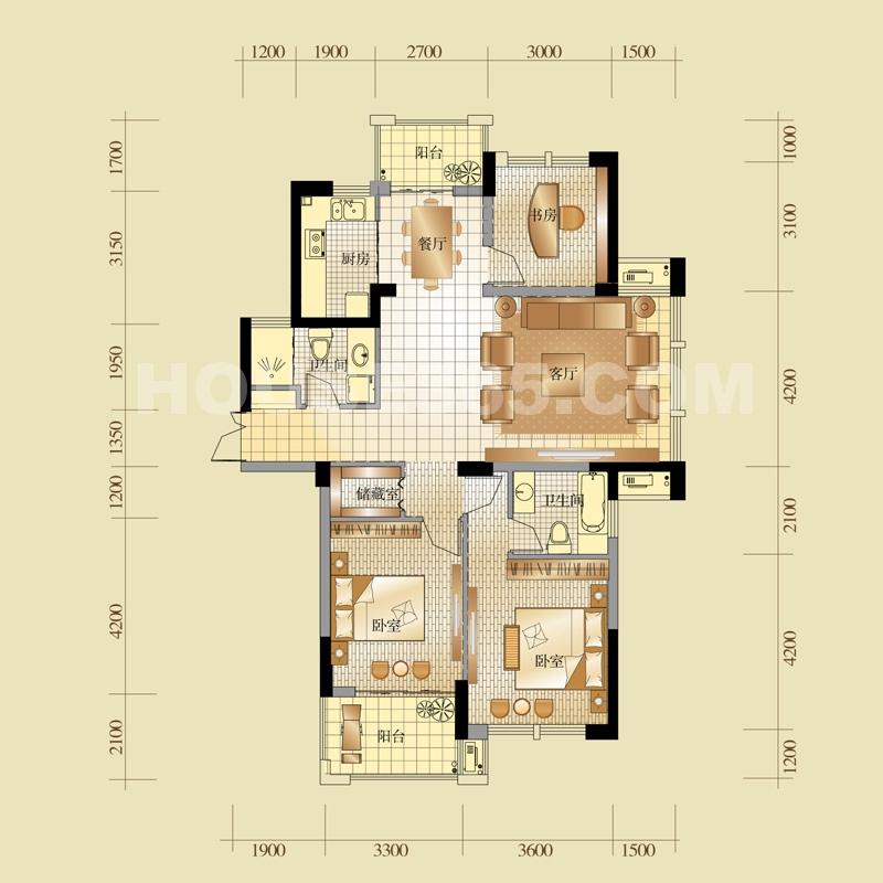 4#楼a户型133方三室两厅两卫户型图