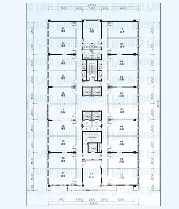 蔚蓝商务港A座四~十八层平面图