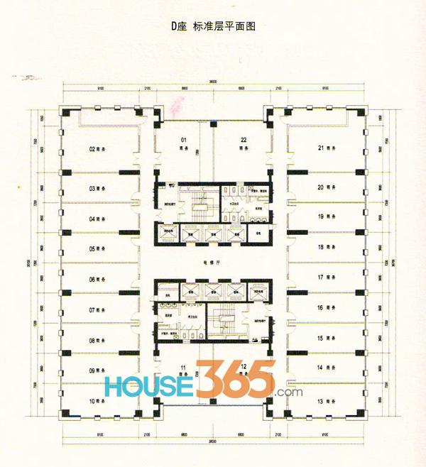 蔚蓝商务港D座标准层平面图