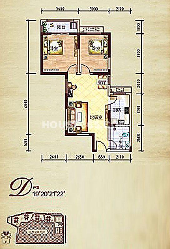 莱茵小城二期19#/20#/21#/22#楼D2室2厅1卫1厨 82.03㎡