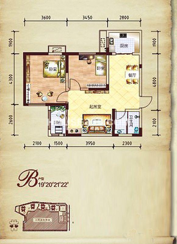 莱茵小城19/20/21/22号楼B户型2室2厅1卫1厨 79.34㎡