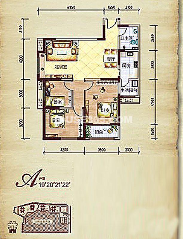 莱茵小城二期19#/20#/21#/22#楼A户型3室2厅1卫1厨 116.68㎡